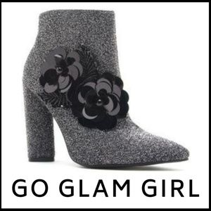 Shoes - NWT Pewter Bootie With Floral Embellishment